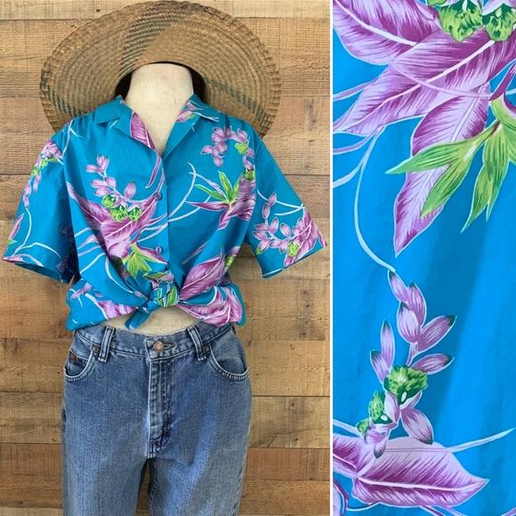 Vintage 1980's Cotton Button Front Hawaiian Shirt